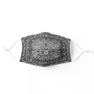 Modern Gray Paisley Print Bandana Adult Cloth Face Mask