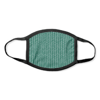 Modern Green & White Herringbone Pattern Face Mask