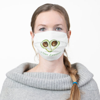 Modern Heart Green I Love Avocado Quote Adult Cloth Face Mask
