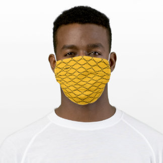 Modern hexagon pattern and monogram yellow adult cloth face mask