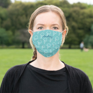 Modern Ice Cream Pattern Turquoise Blue Adult Cloth Face Mask
