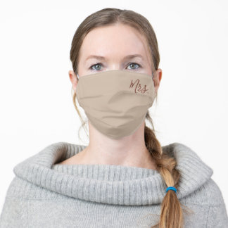 Modern Light Brown Calligraphy Bride Adult Cloth Face Mask