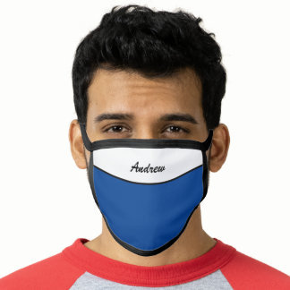 Modern  Navy Blue Add Your Own  Name Face Mask