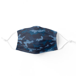 Modern Navy Blue Camo Pattern Adult Cloth Face Mask