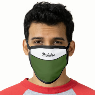 Modern Olive  Green Add Your Own Name Green Face Mask