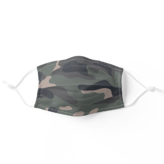 Modern Olive Green Camo Pattern Adult Cloth Face Mask