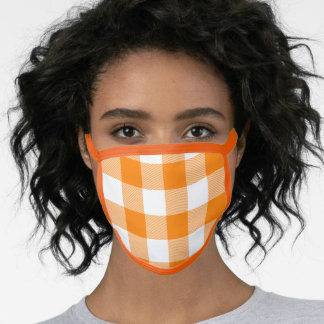 Modern Orange and White Gingham Check Face Mask