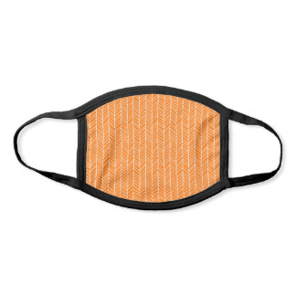 Modern Orange & White Herringbone Pattern Face Mask