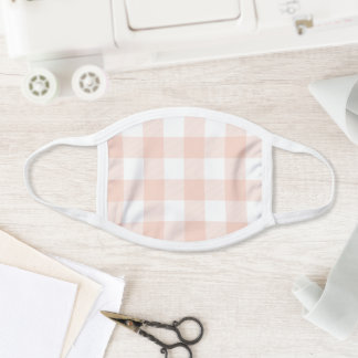 Modern Pastel Coral and White Gingham Check Face Mask