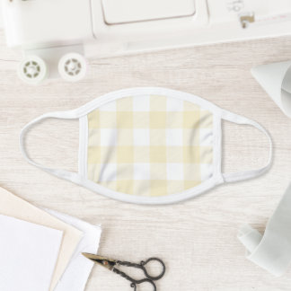 Modern Pastel Lemon and White Gingham Check Face Mask