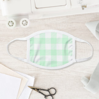 Modern Pastel Mint and White Gingham Check Face Mask