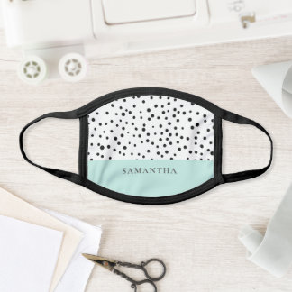 Modern Pastel Mint Simple With Personalized Name Face Mask