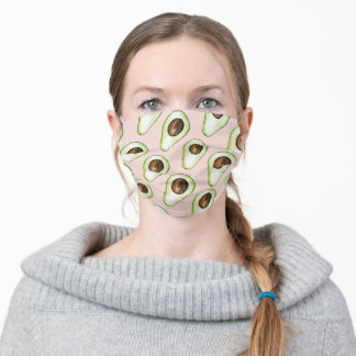 Modern Pastel Pink And Green Avocado Pattern Adult Cloth Face Mask