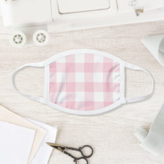 Modern Pastel Pink and White Gingham Check Face Mask