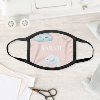 Modern Pastel Pink & Blue Child Name Face Mask