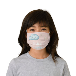Modern Pastel Pink & Blue Child Name Kids' Cloth Face Mask