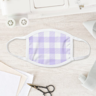 Modern Pastel Purple and White Gingham Check Face Mask