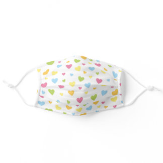 Modern Pastel Rainbow Heart Pattern Valentines Day Adult Cloth Face Mask
