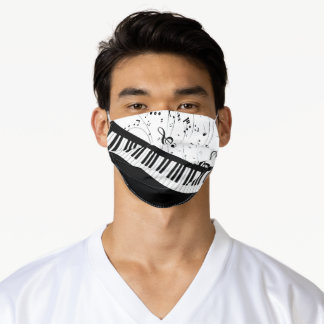 Modern Piano Keyboard Music Notes Black and White Adult Cloth Face Mask