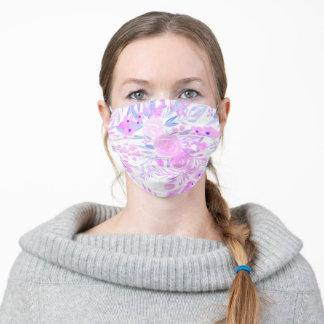 Modern pink purple chic floral watercolor pattern adult cloth face mask
