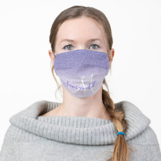 Modern Purple Glitter Sparkles Personalized Name Adult Cloth Face Mask