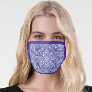 Modern Purple & White Bandana Pattern Face Mask
