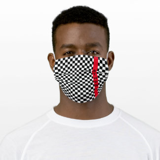 Modern Racing Flag Checkerboard Black White Red Adult Cloth Face Mask