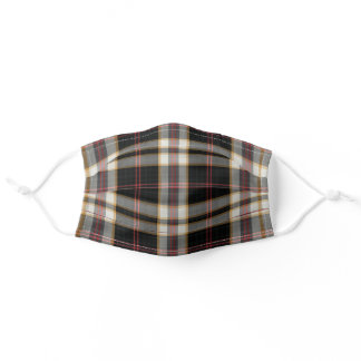 Modern Red Black Gray Plaid Trendy Check Adult Cloth Face Mask