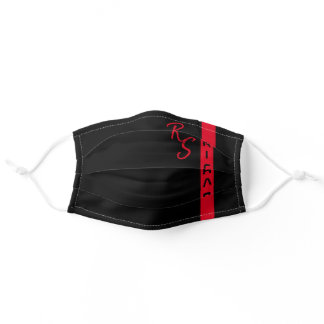Modern Red Black Line Stripe Monogrammed Name Cool Adult Cloth Face Mask