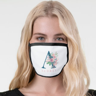 modern red blue floral watercolor flowers monogram face mask