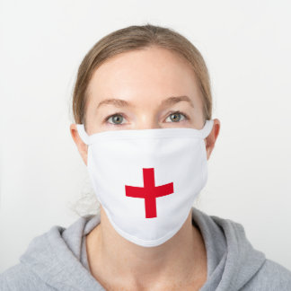 MODERN simple health bold red plus cross White Cotton Face Mask