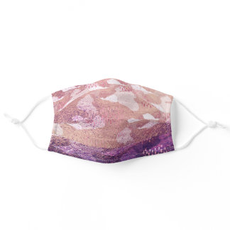 Modern Simple Rose Gold Camo Girly Chic Adult Cloth Face Mask