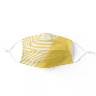 Modern Stripe | Mustard Yellow Sunshine Happy Cute Adult Cloth Face Mask