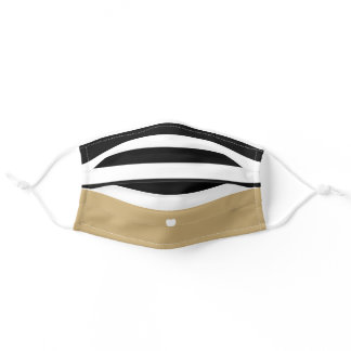 Modern Stripes Upscale Heart Monogram - Black Gold Adult Cloth Face Mask