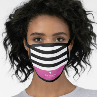 Modern Stripes Upscale Heart Monogram - Black Pink Face Mask