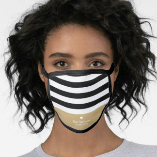 Modern Stripes Upscale Heart Monogram - Grey Gold Face Mask