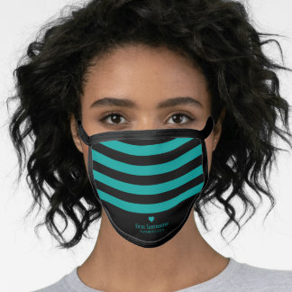 Modern Stripes Upscale Heart Monogram teal black Face Mask