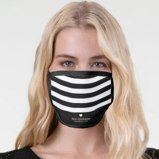 Modern Stripes Upscale Heart Monogram white black Face Mask