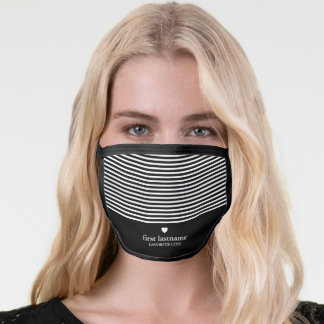 Modern Stripes with Upscale Heart Monogram Black Face Mask