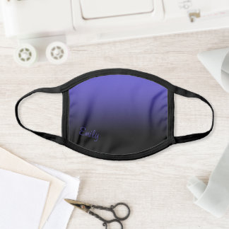 Modern Style Name Black and Purple Ombre Face Mask