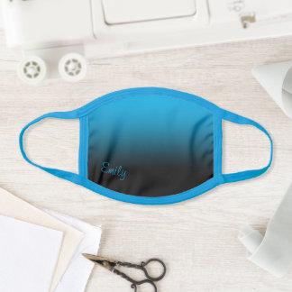 Modern Style Name Black and Sky Blue Ombre Face Mask