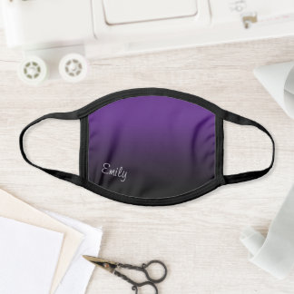 Modern Style Name Royal Purple and Black Ombre Face Mask