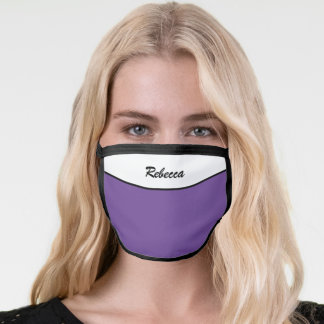 Modern Stylish Purple Add Your Own Name Face Mask