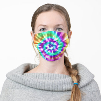 Modern Tie Dye Bright Turquoise Purple Gold Adult Cloth Face Mask