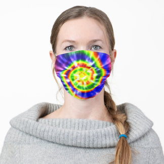 Modern Tie Dye Bright Yellow Blue Red Adult Cloth Face Mask