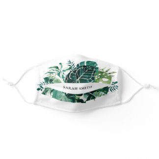 Modern Tropical Monstera Palm Green Foliage Leaves Adult Cloth Face Mask