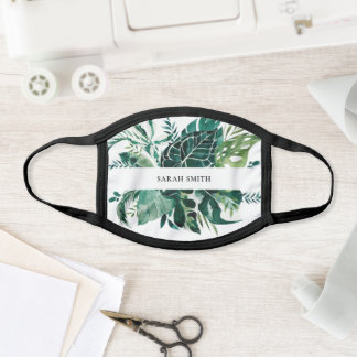 Modern Tropical Monstera Palm Green Foliage Leaves Face Mask