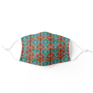 Modern Turquoise Blue Orange Red Tribal Pattern Adult Cloth Face Mask