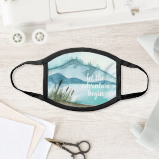 Modern Watercolor Nature Let's The Adventure Begin Face Mask