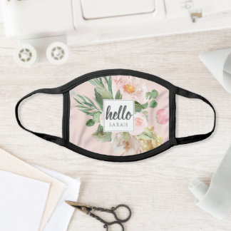 Modern Watercolor Pink Flowers & Hello & Name Face Mask